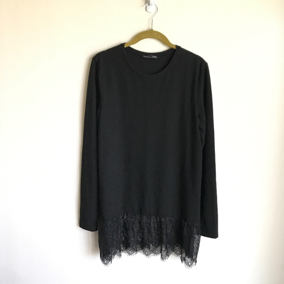 Zara Dresses & Skirts - Zara Black Sweater Dress Lace Hem  Size Small